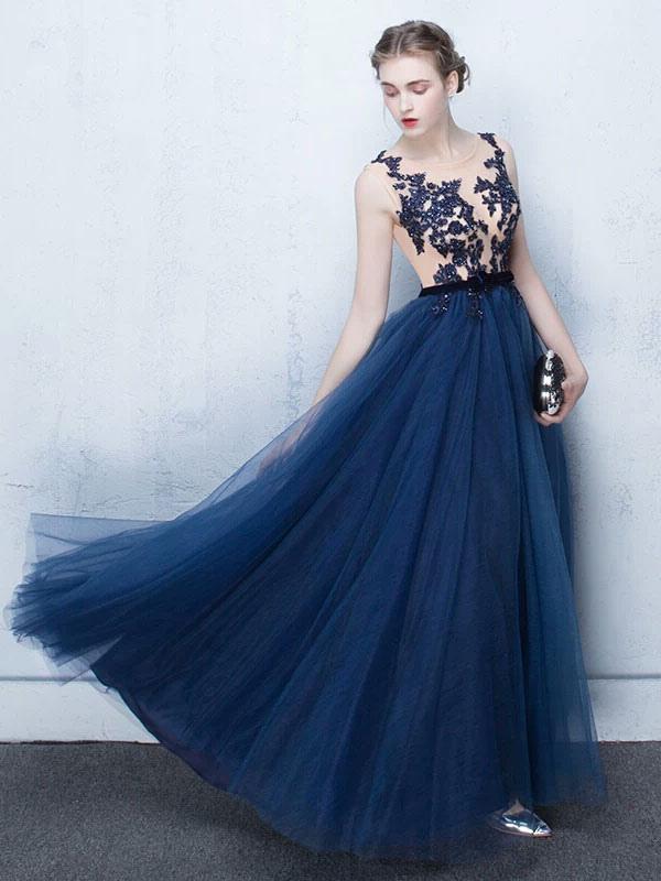 Dark Navy Prom Dresses Long Tulle Evening Dress Lace Illusion Floor Length Formal Dress (Wedding) photo