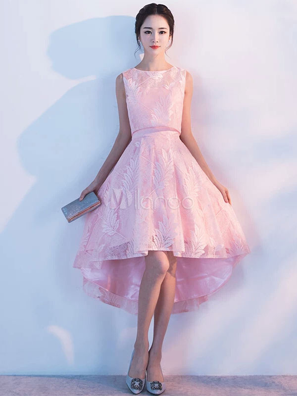 Two Piece Homecoming Dresses Lace Soft Pink Short Prom Dress High Low Cocktail Dress (Wedding) photo