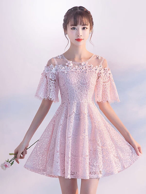 Lace Homecoming Dresses Soft Pink Mini Prom Dress Short Sleeve Flowers Beading Party Dresses (Wedding) photo