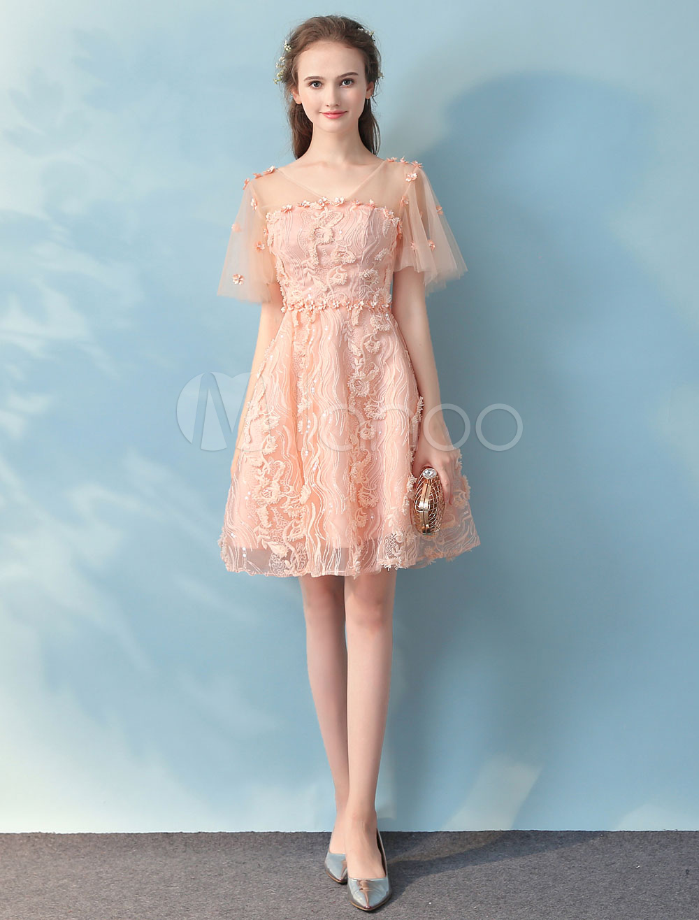 Peach Homecoming Dress Lace Short Prom Dresses V Neck Butterfly Sleeve Backless Flower Deco A Line Knee Length Cocktail Dress (Wedding) photo