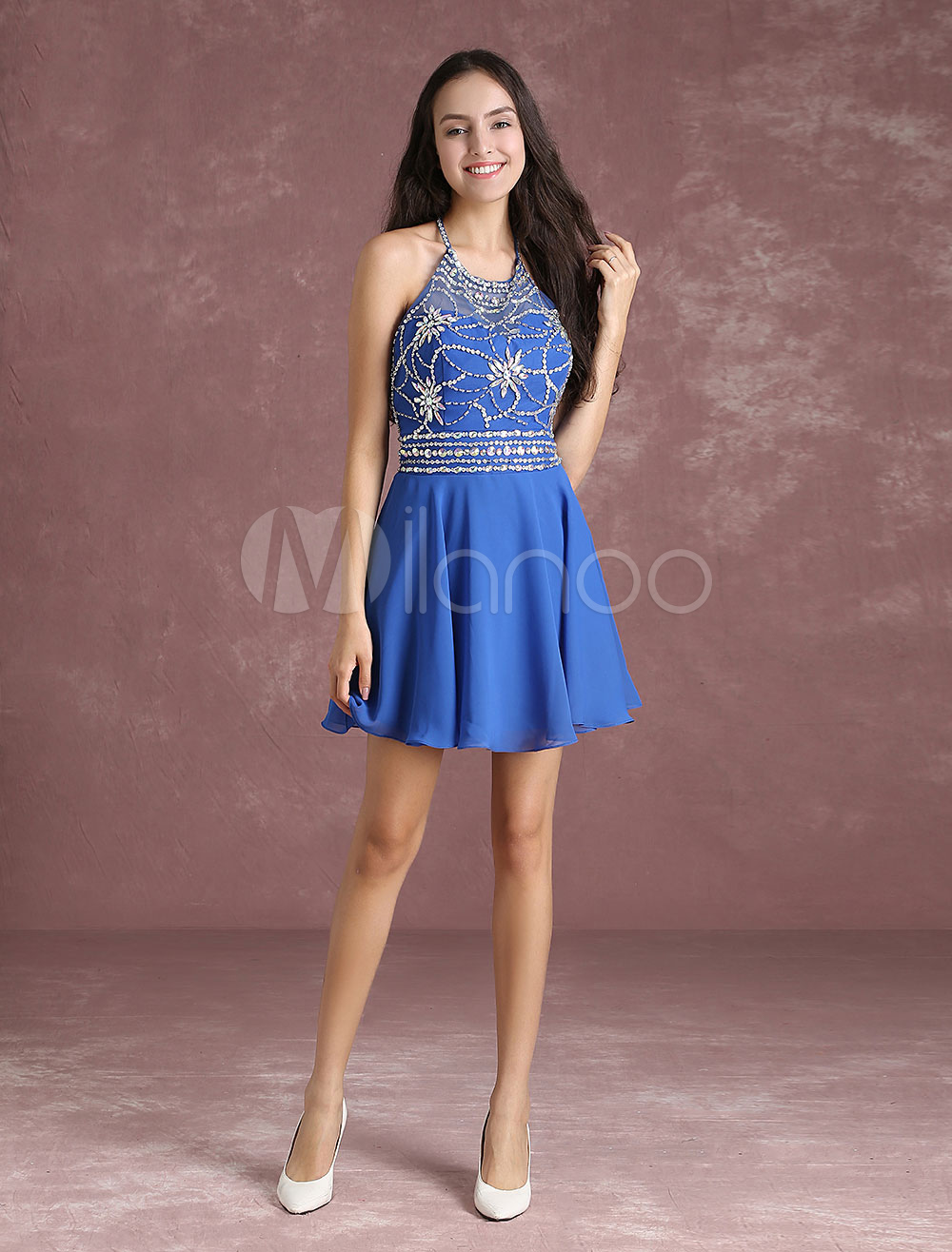 Chiffon Homecoming Dress Loyal Blue Backless Short Prom Dresses Halter Beading A Line Mini Cocktail Dress (Wedding) photo