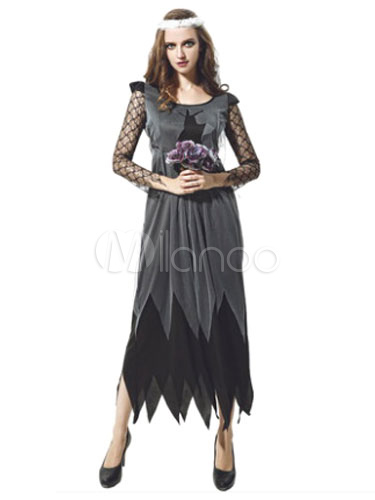 Scary Halloween Costume Black Corpse Bride Women's Long Dress With Headpieces (Costumes Funny Costume) photo