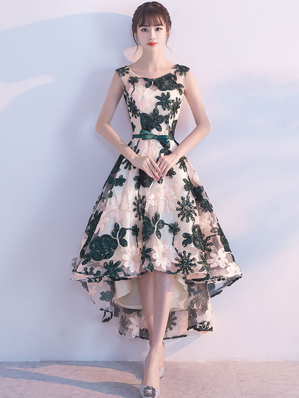 Lace Homecoming Dress Dark Green Sleeveless Embroidered Sash Cocktail Dresses Round Neck A Line High Low Formal Party Dresses (Wedding) photo
