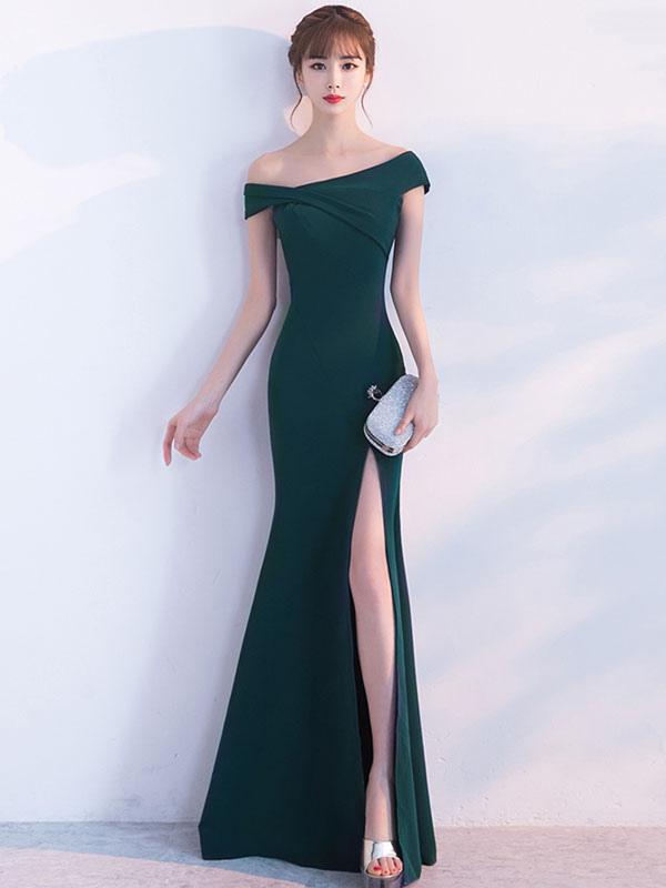 Mermaid Homecoming Dress Oblique Short Sleeve Long Evening Dresses Dark Green Split Occasion Dresses With Train (Wedding Prom Dresses) photo