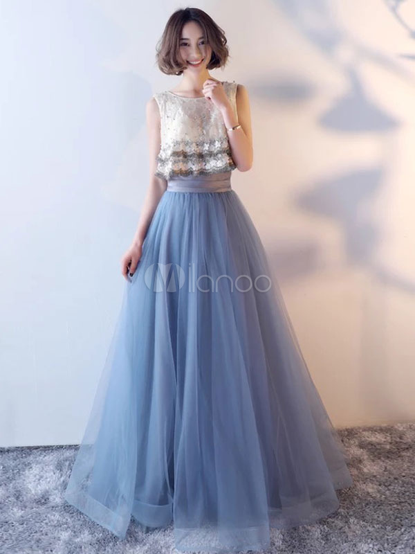 Long Prom Dresses Blue Lace Beding Fake Two Piece Tulle Formal Party Dress (Wedding) photo
