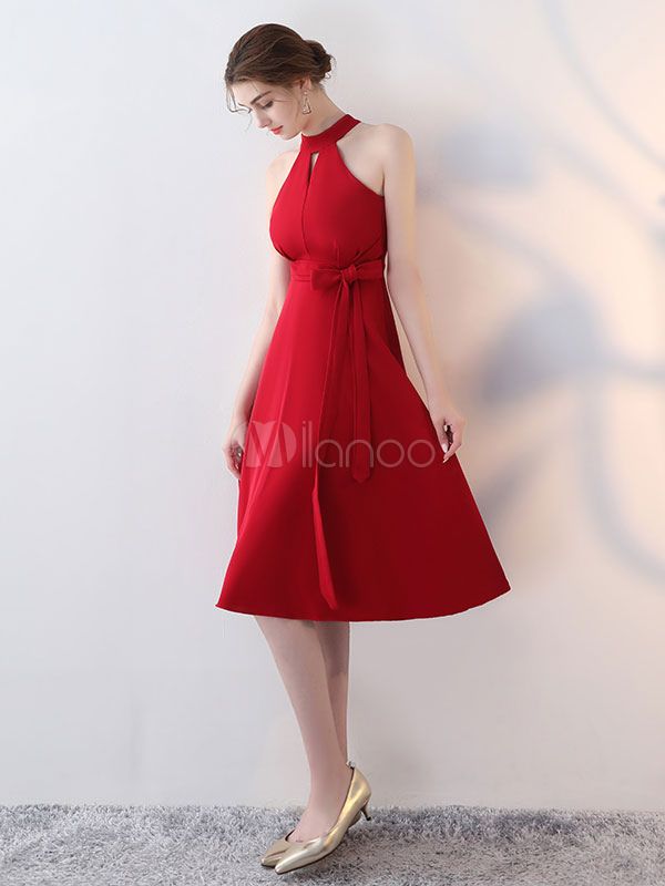 Red Cocktail Dresses Halter Short Homecoming Dresses Cut Out Ribbon Sash Party Dress (Wedding) photo