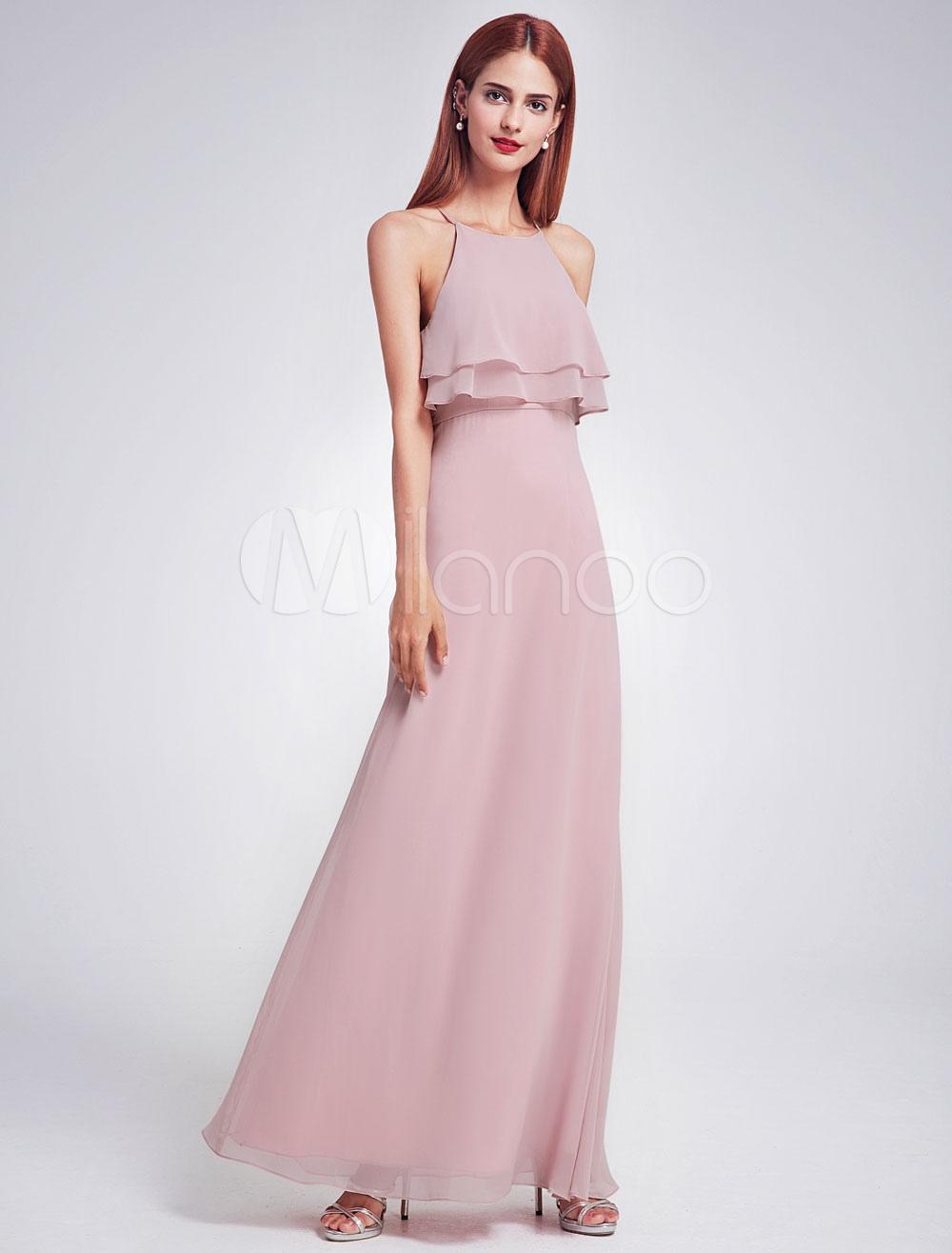 Chiffon Bridesmaid Dress Long Halter Sleeveless Layered Prom Dresses Cameo Pink A Line Floor Length Party Dresses (Wedding) photo