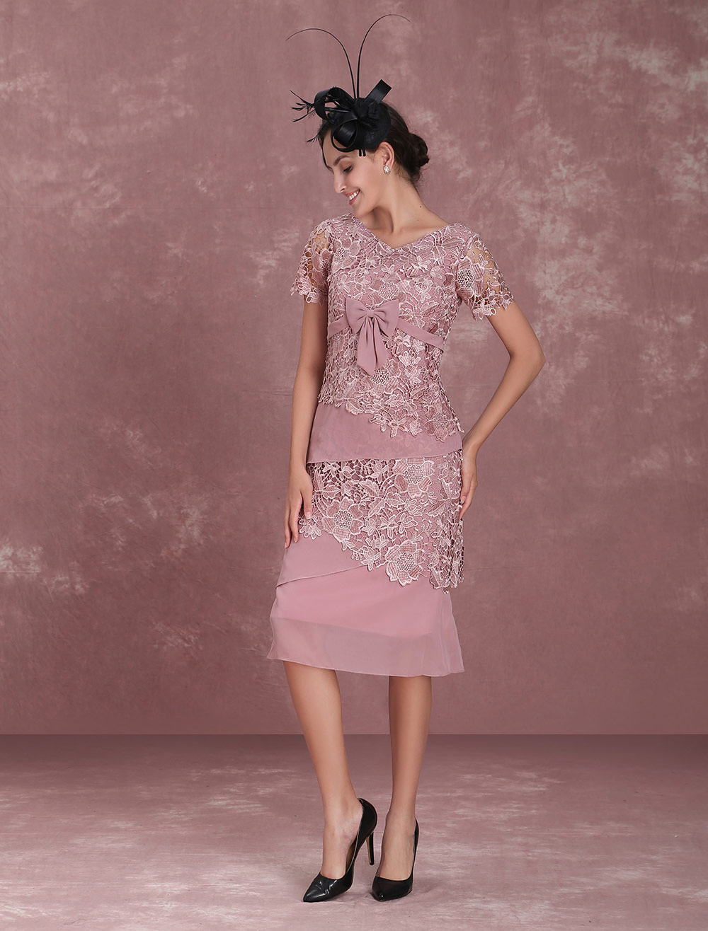 Mother Of The Bride Dresses Cameo Pink Sheath Lace Chiffon Short Sleeve Tea Length Wedding Guest Dresses photo