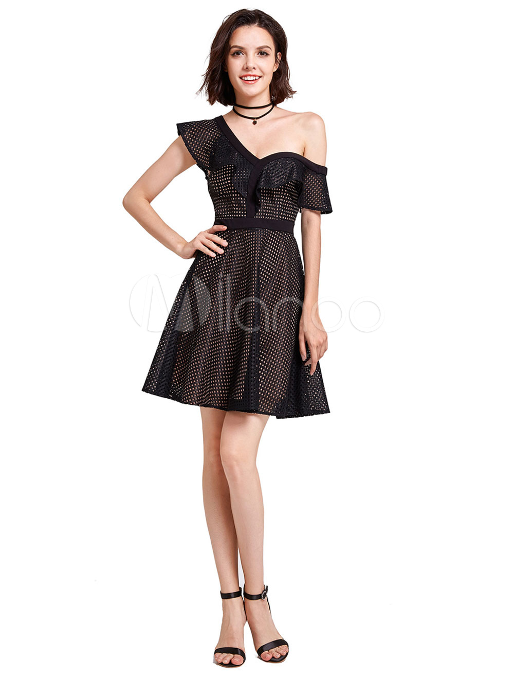 Black Cocktail Dress One Shoulder Short Sleeve Cut Out Backless Party Dresses A Line Mini Homecoming Dresses (Wedding Cocktail Dresses) photo