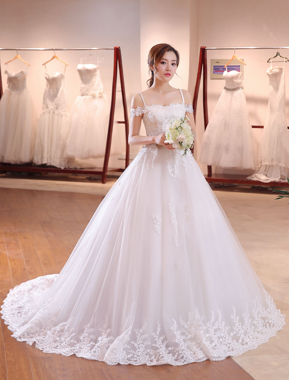 Princess Wedding Dresses Off The Shoulder Bridal Dress Straps Lace Applique Beading Wedding Gown With Long Train photo