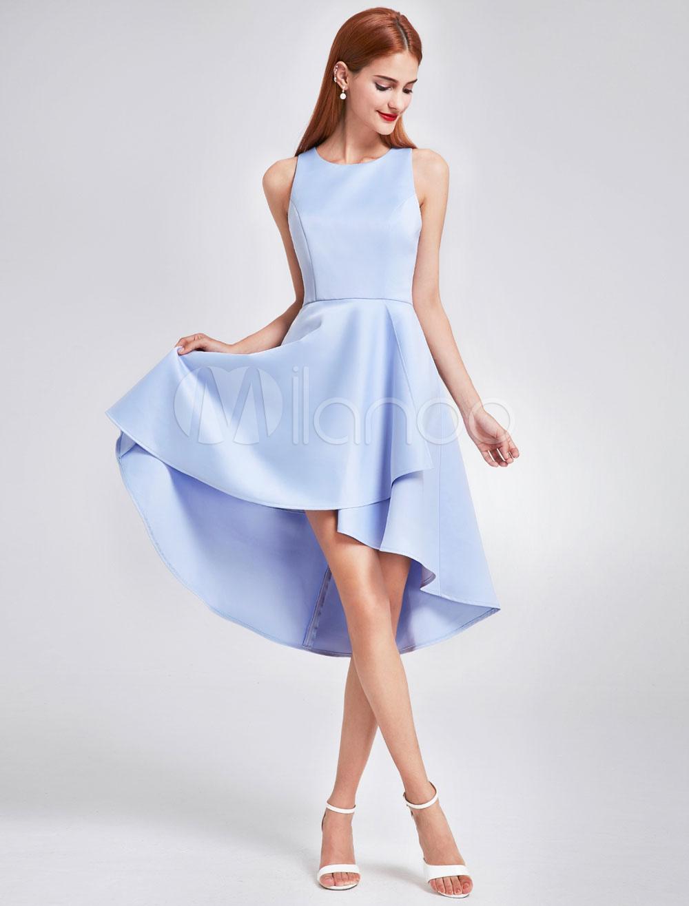 Short Bridesmaid Dresses Satin Baby Blue High Low Sleeveless Knee Length Wedding Party Dress photo