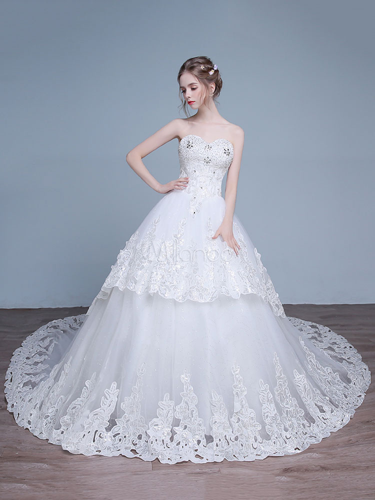 Princess Wedding Dresses Off The Shoulder Wedding Gown Lace Beading Sequins Tiered Bridal Dress With Long Train photo