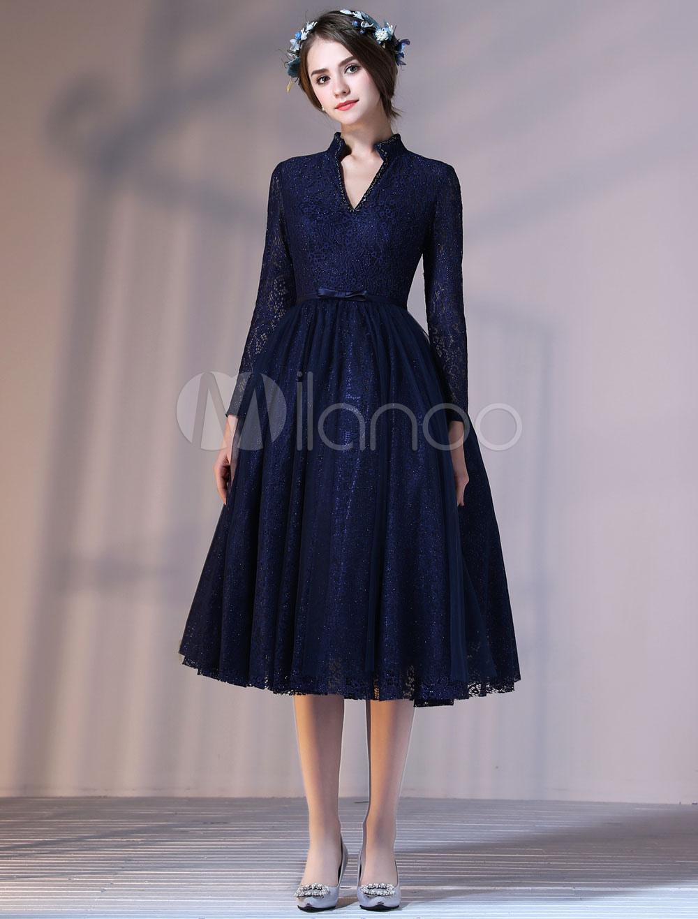 Dark Navy Cocktail Dresses V Neck Long Sleeve Illusion Keyhole Beading Knee Length Homecoming Dresses (Wedding) photo