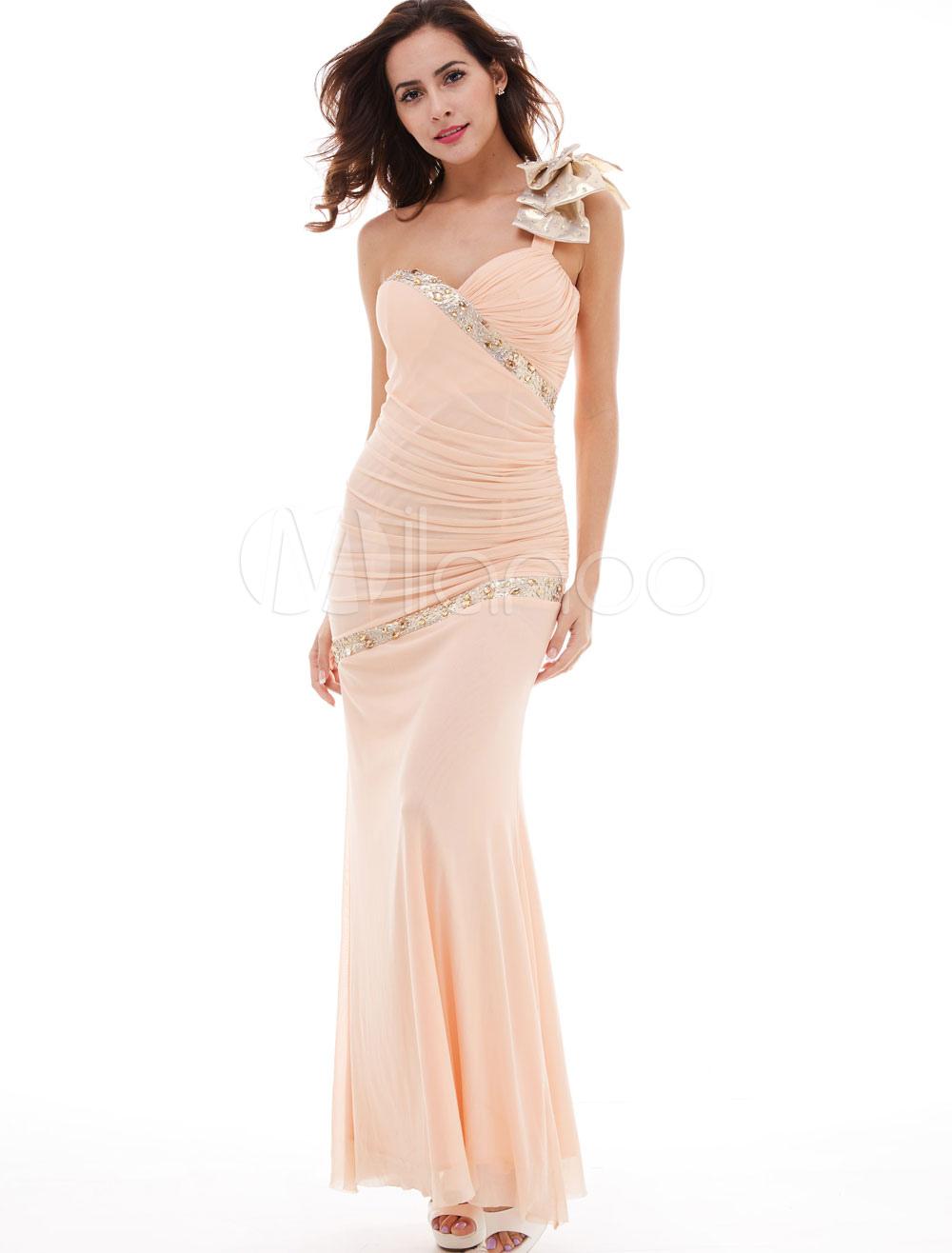 Mermaid Evening Dresses Formal One Shoulder Bows Beading Peach Ruched Long Chiffon Prom Dress (Wedding Prom Dresses) photo