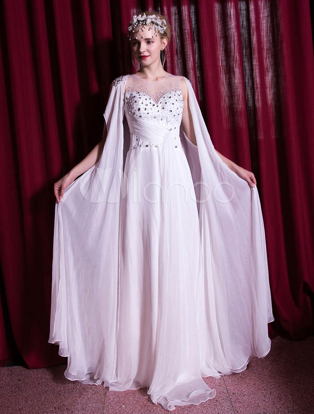 White Evening Dresses Chiffon Rhinestone Beading Pleated Formal Occasion Dress With Cape (Wedding) photo