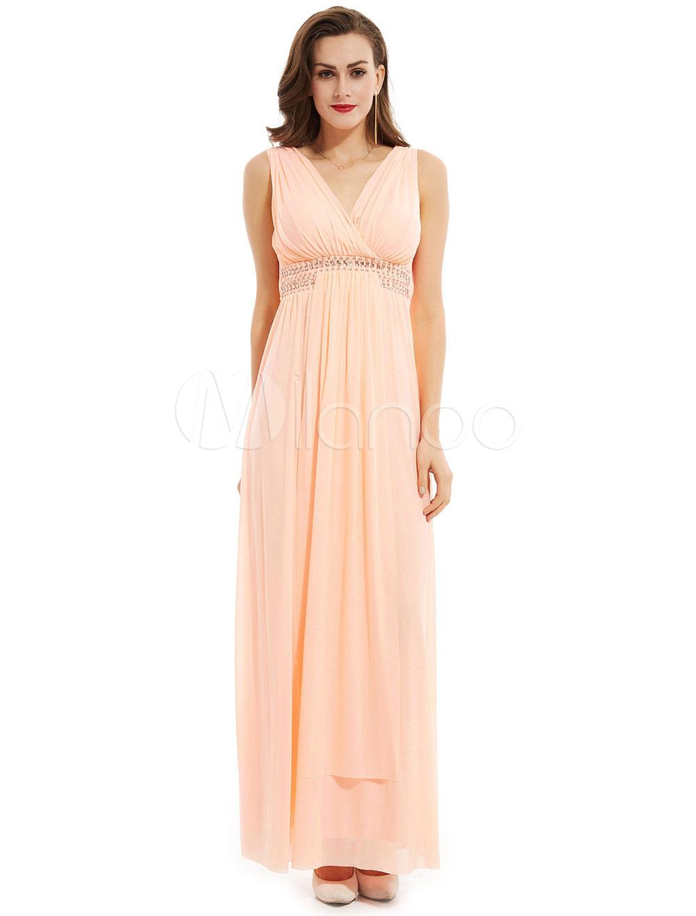 Long Prom Dresses V Neck Pleated Chiffon Peach Beading Waist Formal Party Dress (Wedding) photo
