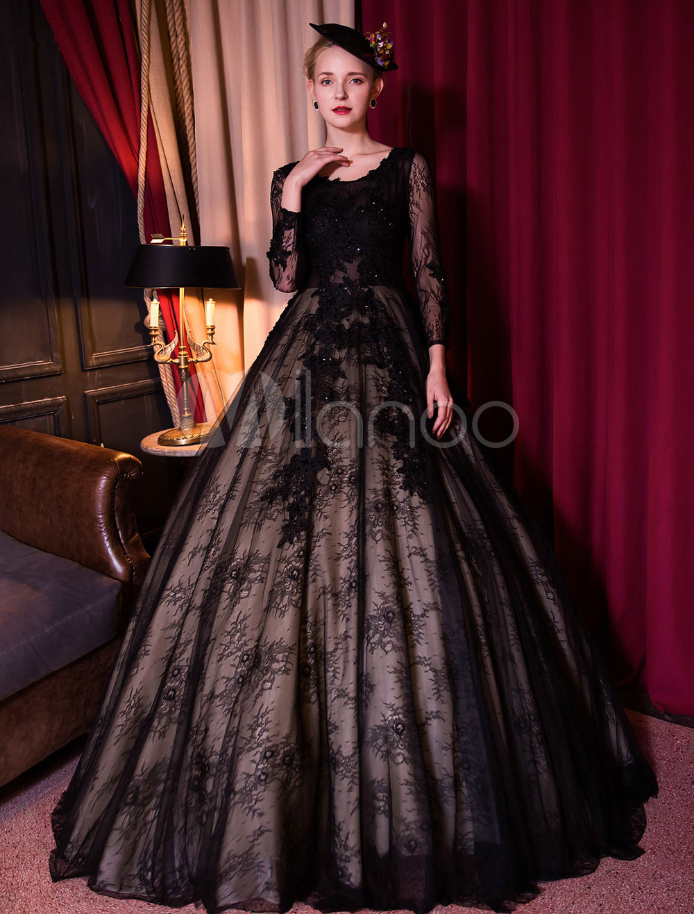 Black Wedding Dress Princess Lace Backless Quinceanera Dress Long Sleeve Illusion Beaded Bridal Gown With Train (Quinceanera Dresses) photo