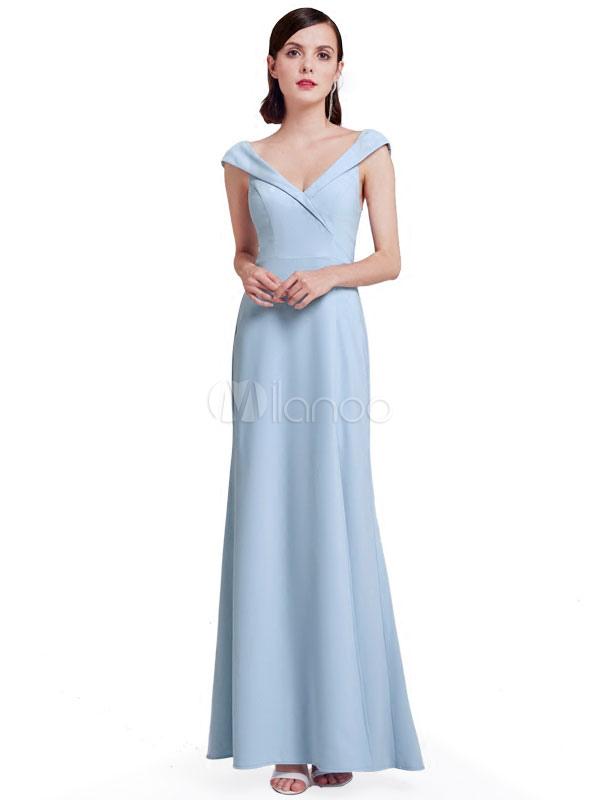 Long Prom Dress V Neck High Split Pastel Blue Bridesmaid Dress Sleeveless Formal Occasion Dress (Wedding Prom Dresses) photo