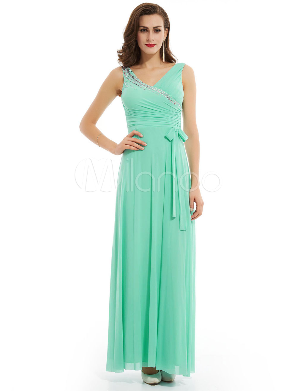 Prom Dresses Long Mint Green V Neck Beading Ribbon Bow Chiffon Floor Length Formal Party Dress (Wedding) photo