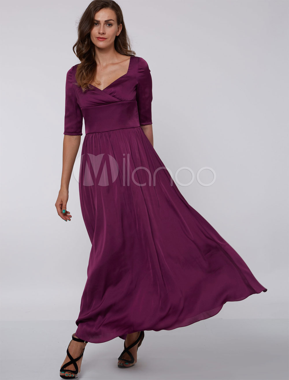 Evening Dresses Formal Plum Queen Anne Neck Mother Dress Half Sleeve Elastic Silk Like Satin Long Wedding Guest Dresses photo