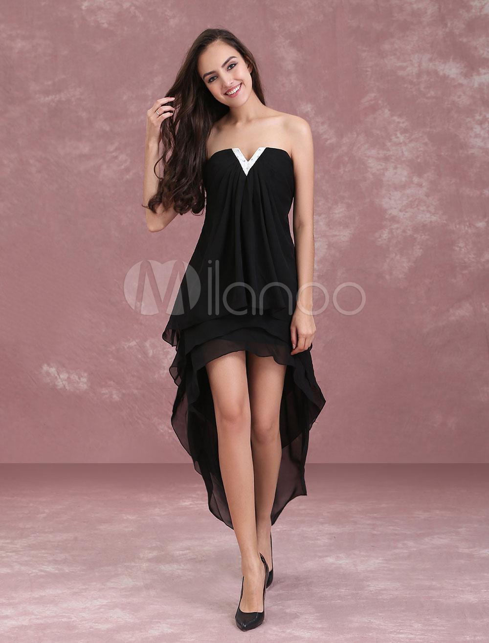 Black Homecoming Dresses Strapless High Low Chiffon Asymmetrical Beaded Women Prom Dress (Wedding) photo