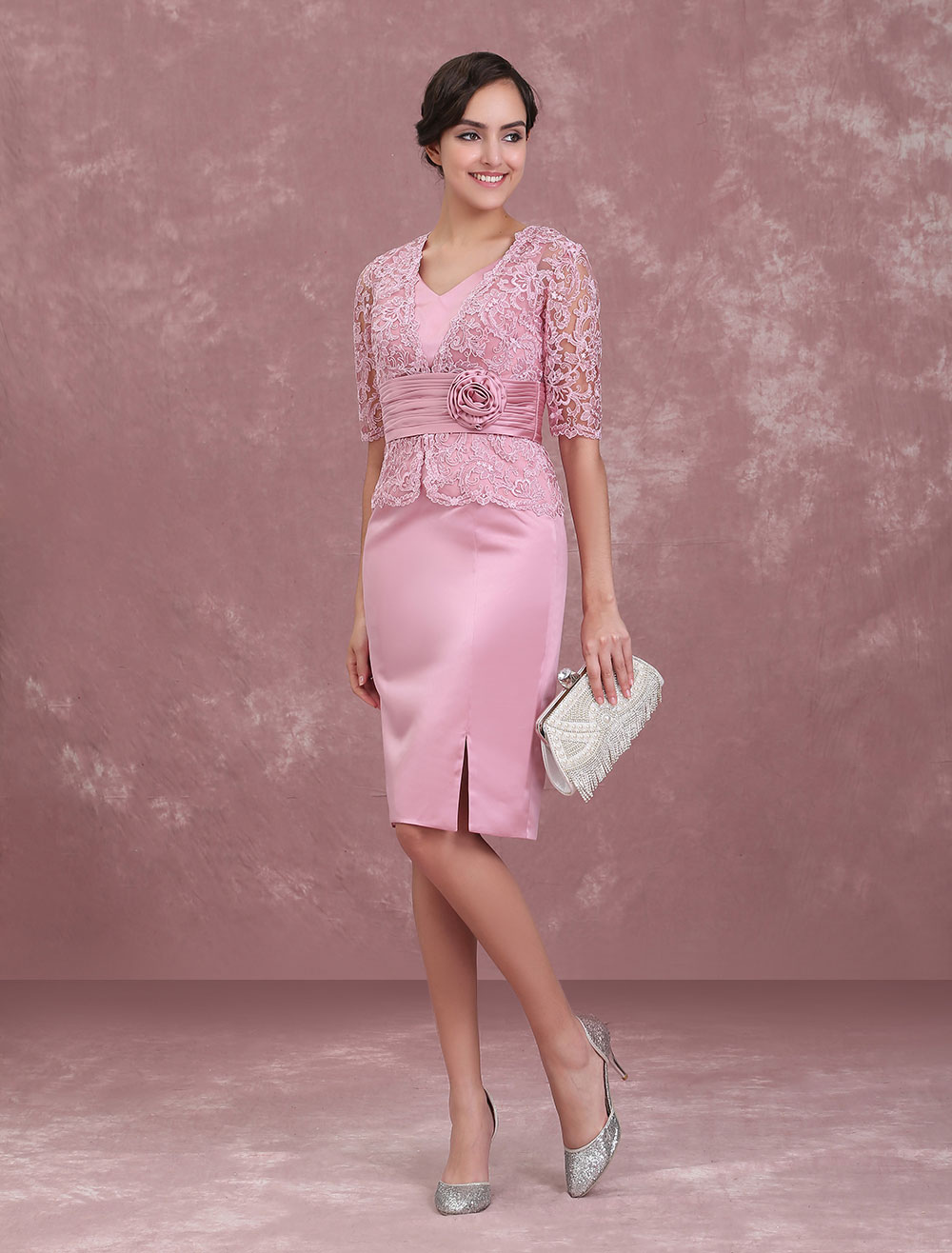 Mother Of The Bride Dresses Cameo Pink Wedding Guest Dress Short Sheath Lace V Neck Flowers Pleated Wedding Party Dress photo