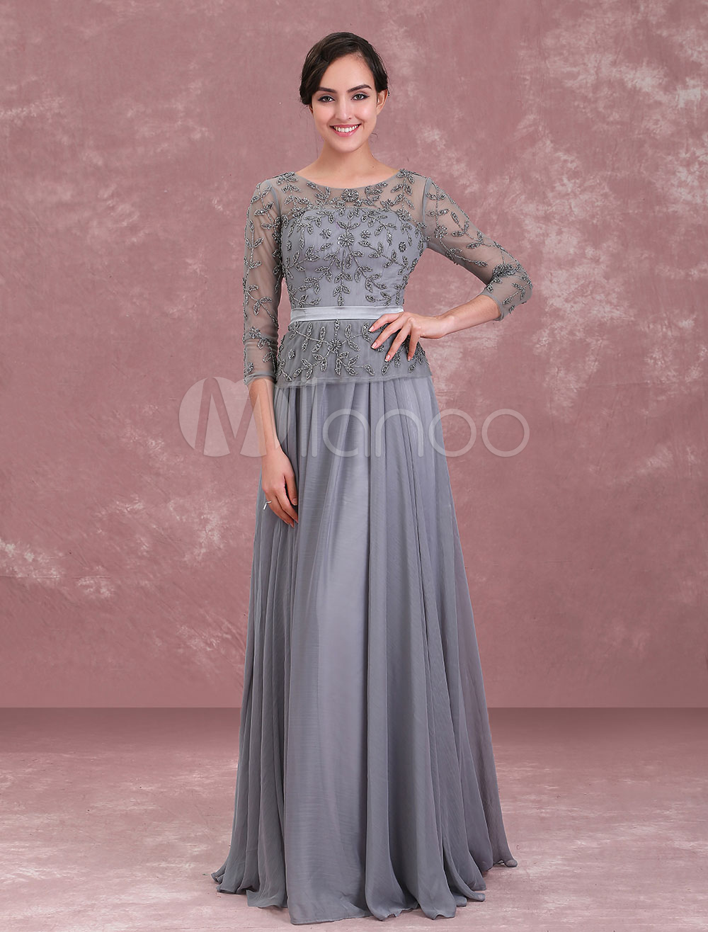 Mother Of The Bride Dresses Grey Long Sleeve Beaded Illusion Sash Floor Length Formal Occasion Dress (Wedding) photo