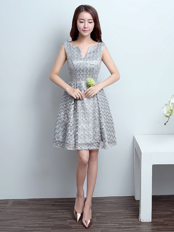 Homecoming Dresses Lace Silver Short Prom Dress Knee Length Formal Party Dress (Wedding Cheap Party Dress) photo