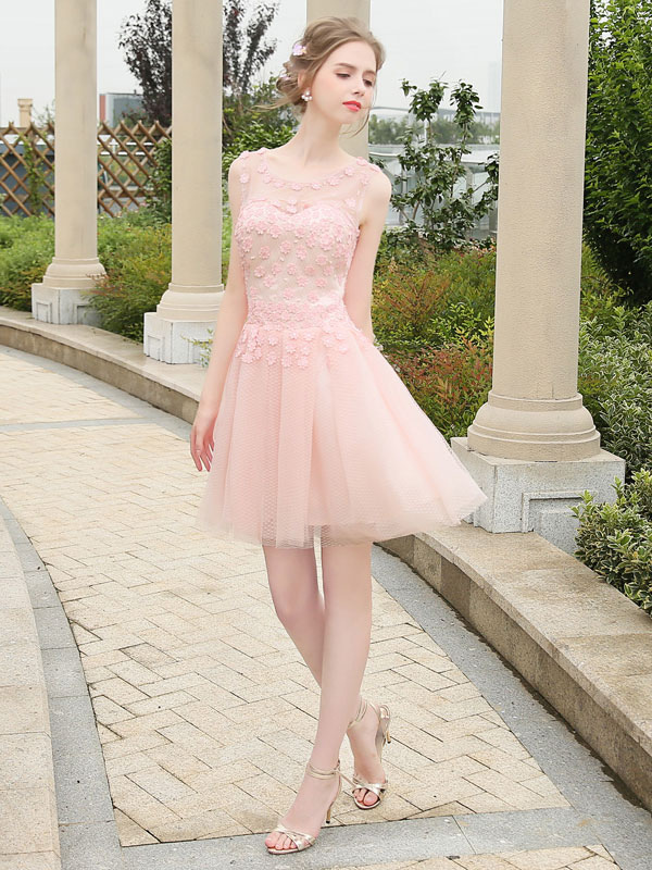 Short Prom Dress Soft Pink Homecoming Dress Tulle Illusion Mini Formal Party Wedding Guest Dress (Cheap Party Dress) photo