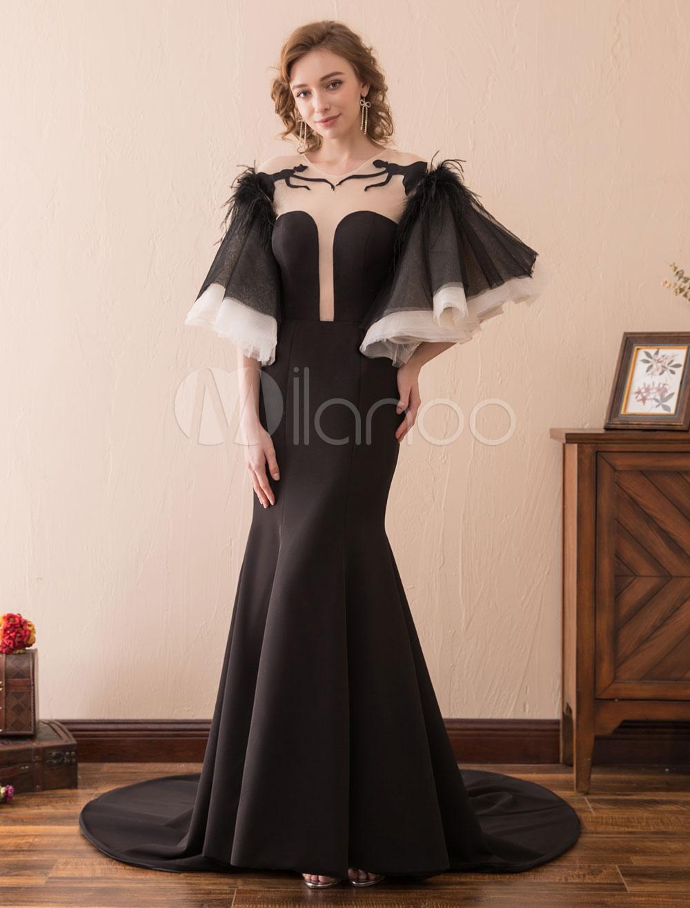 Black Evening Dresses Mermaid Long Prom Dress Bell Sleeve Ruffles Illusion Satin Formal Dresses (Wedding) photo