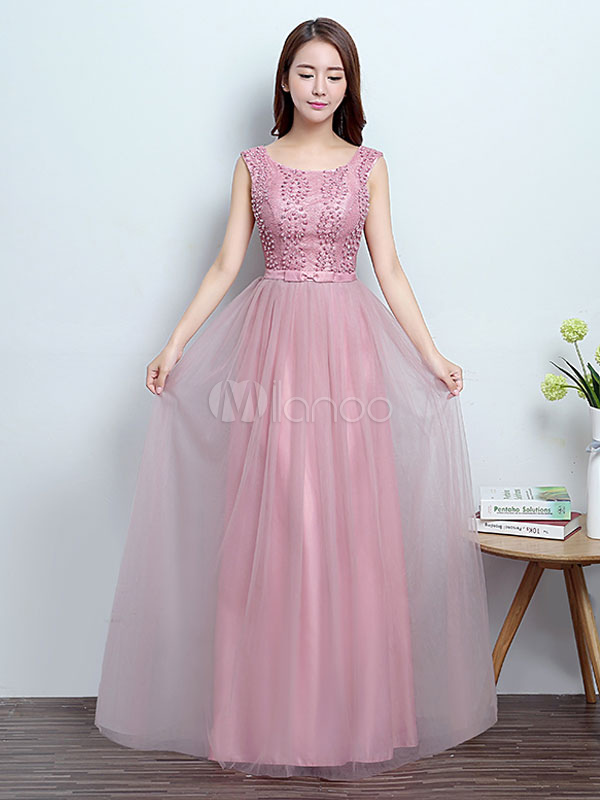 Prom Dresses Long Cameo Pink Beaded Backless Bow Sash Floor Length Formal Occasion Dress (Wedding Cheap Party Dress) photo