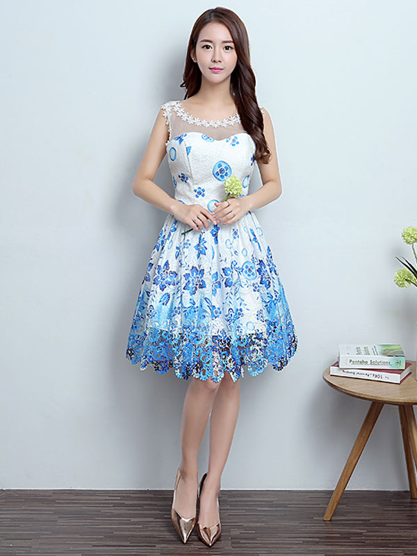 Homecoming Dresses Short Blue Graduation Dress Printed Illusion Cocktail Party Dress (Wedding Cheap Party Dress) photo
