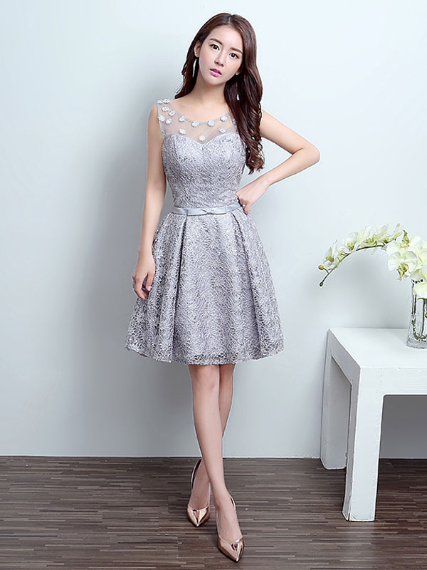 Homecoming Dresses Lace Silver Short Illusion Bow Sash Formal Cocktail Party Dress (Wedding Cheap Party Dress) photo