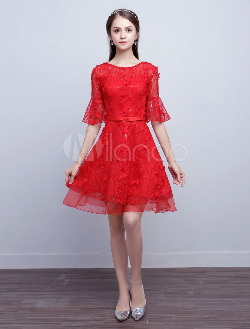 Red Homecoming Dress Lace Bell Sleeve Sash A Line Short Cocktail Dress (Wedding Cheap Party Dress) photo