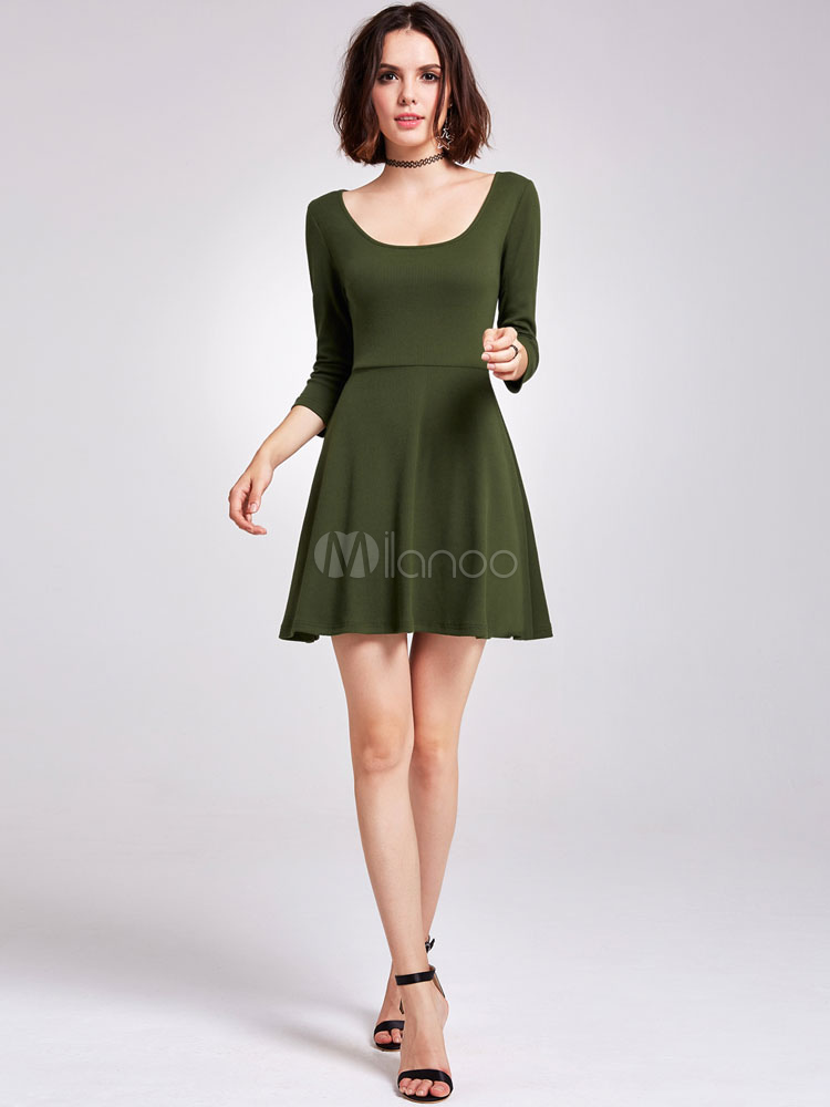 Short Homecoming Dress Hunter Green Cocktail Dress U Neck Long Sleeve Mini Party Dress (Wedding) photo