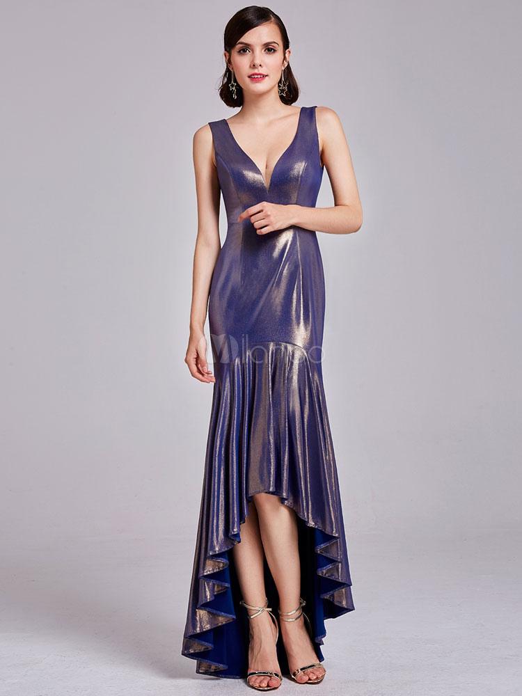 Prom Dresses Long V Neck Rufflles Plum High Low Asymmetrical Formal Party Dress (Wedding) photo