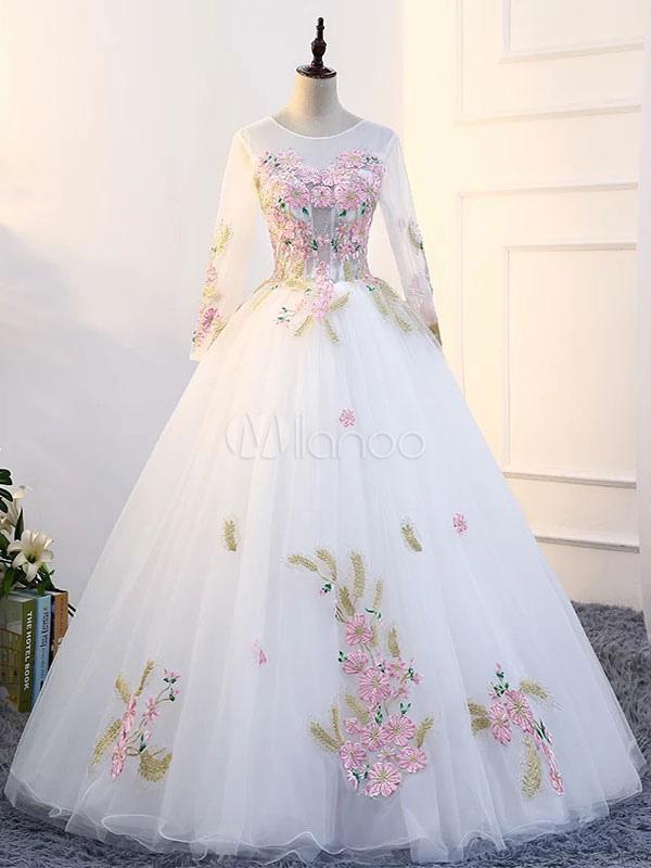 White Quinceanera Dresses Princess Long Sleeve Pageant Dress Women Flowers Applique Floor Length Prom Gown (Wedding) photo