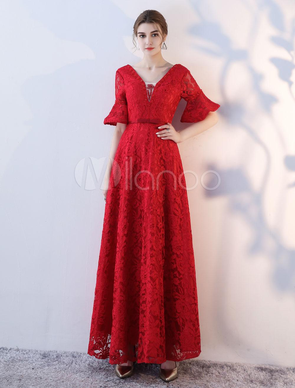 Prom Dresses Long Lace Half Sleeve V Neck Ruffles Beading Burgundy Formal Evening Dress (Wedding) photo