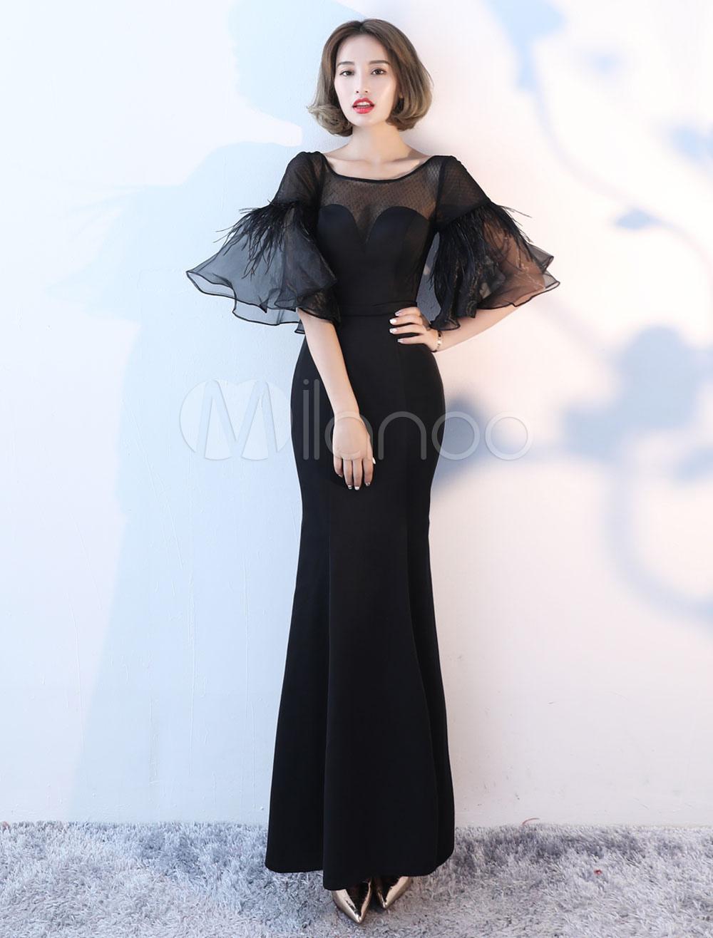 Black Evening Dresses Long Bell Sleeve Illusion Satin Mermaid Formal Dress (Wedding) photo