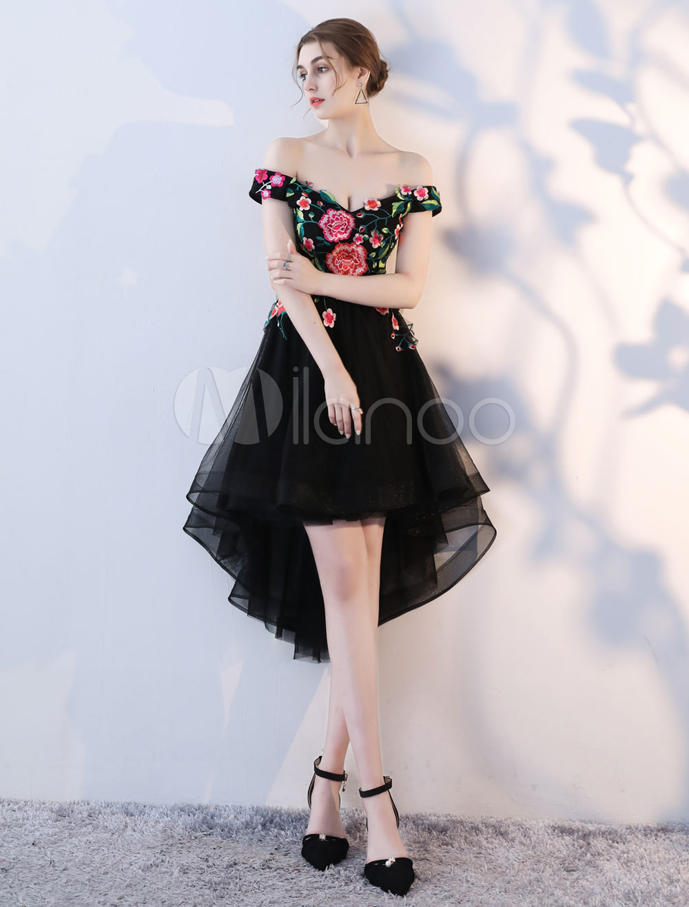 Black Cocktail Dresses Off The Shoulder Lace Flowers High Low Occasion Party Dress (Wedding) photo