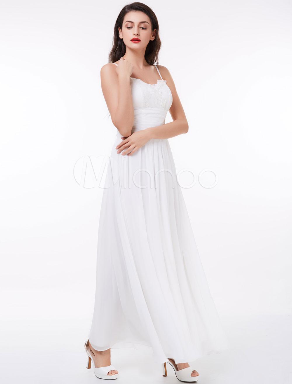 White Prom Dresses Chiffon Spaghetti Straps Lace Pleated Floor Length Long Bridesmaid Dress (Wedding Cheap Party Dress) photo