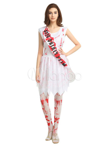 Corpse Bride Halloween Costume White Printed Shoulder Strap With Dress (Costumes Funny Costume) photo