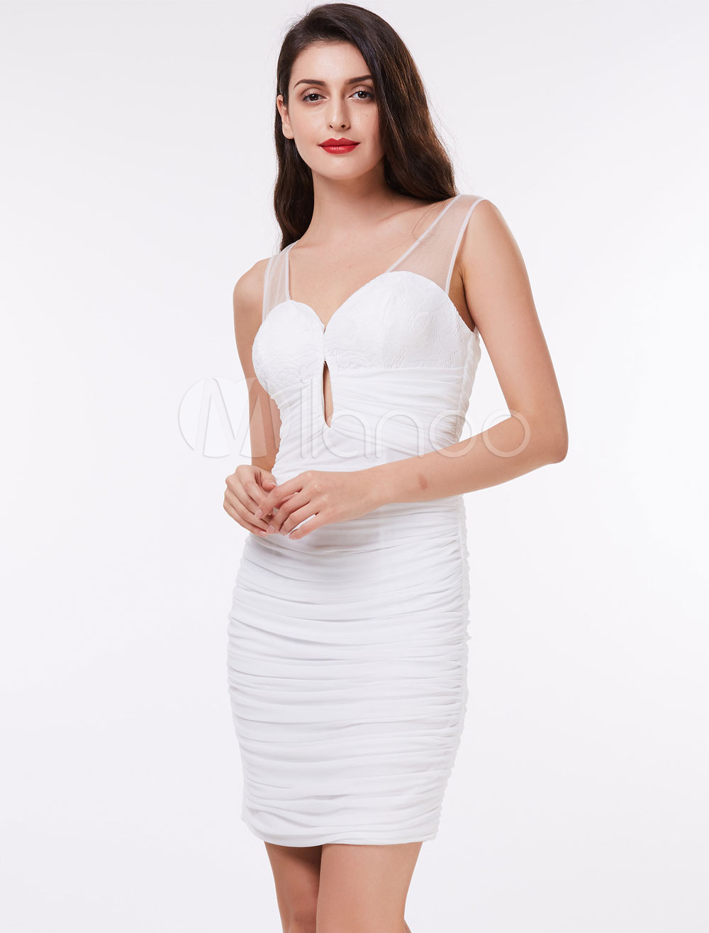 Cocktail Dresses White Sheath Column Ruched Lace Cut Out Illusion Short Party Dress (Wedding Cheap Party Dress) photo