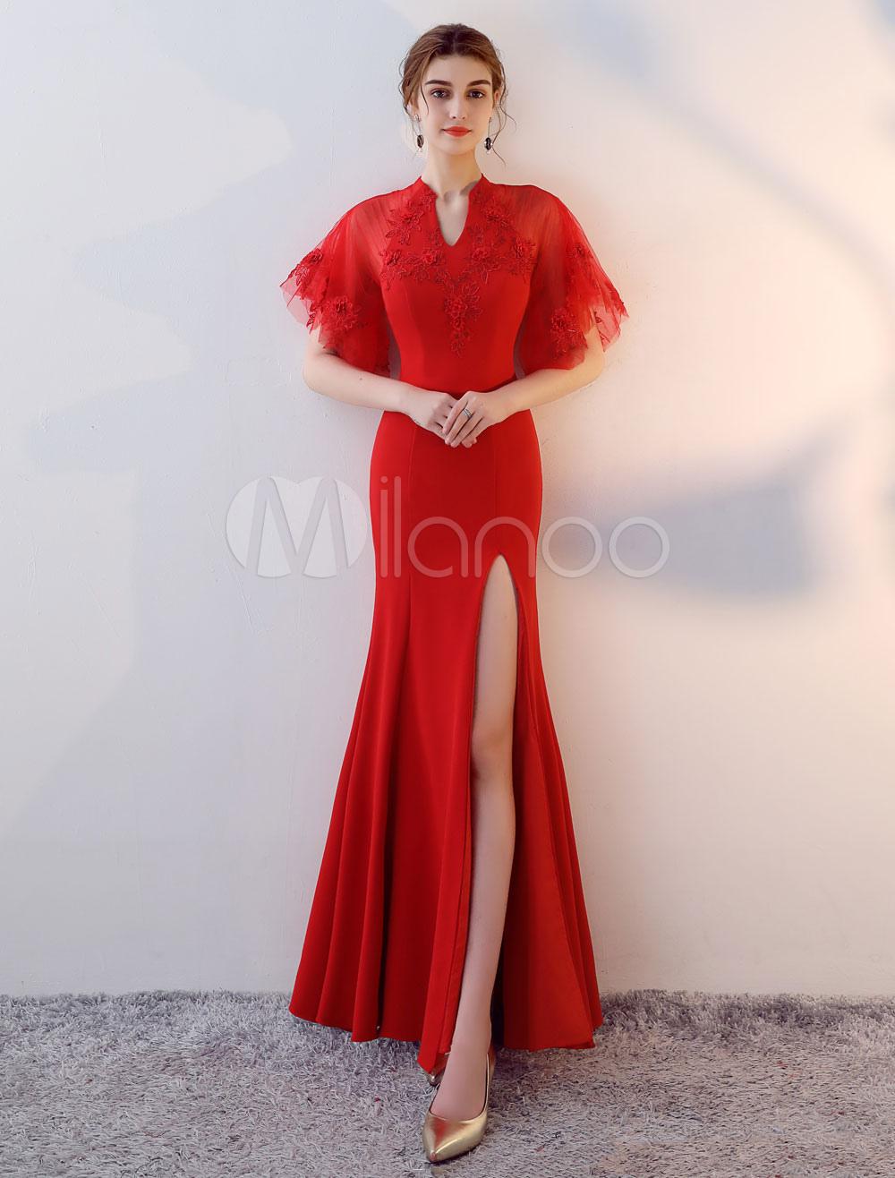 Red Evening Dresses Sexy High Split Formal Dress V Neck Short Sleeve Satin Occasion Dress (Wedding) photo