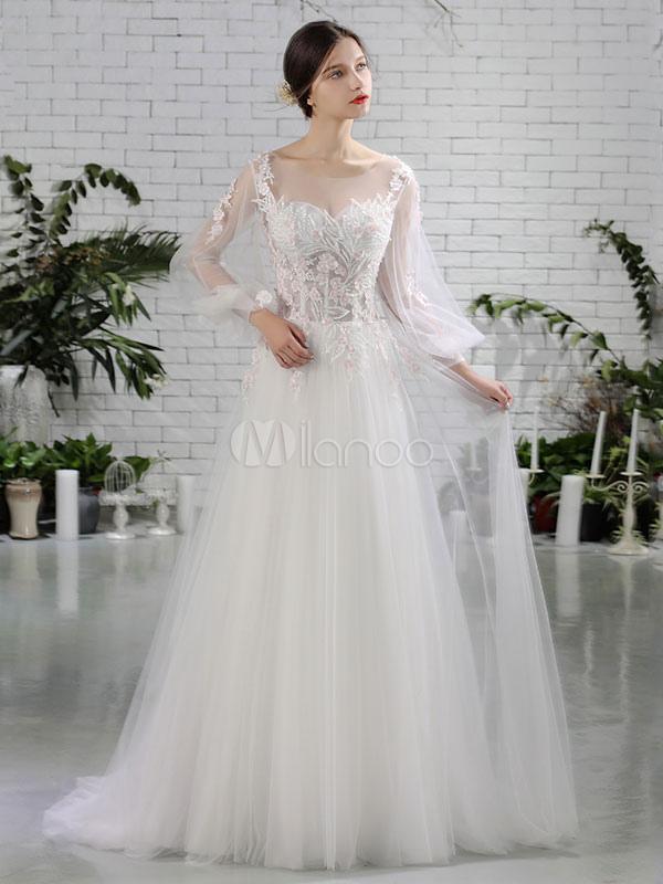 Beach Wedding Dresses Ivory Long Sleeve Boho Bridal Dress Lace Flowers Beading Tulle Maxi Summer Bridal Gowns photo