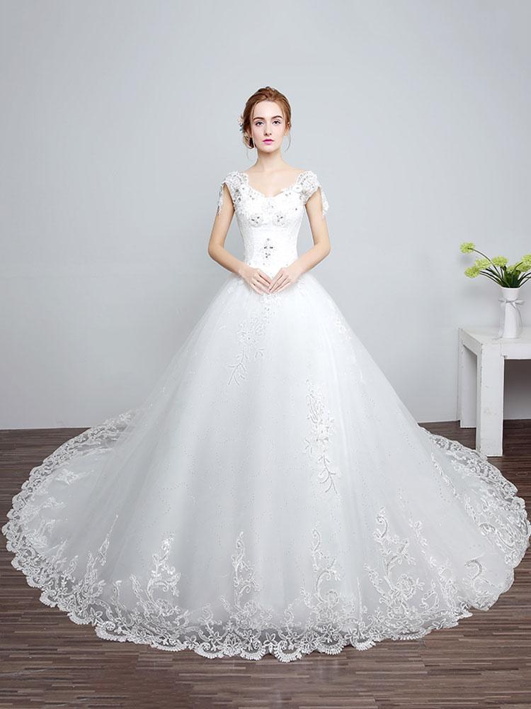 Princess Wedding Dresses Ivory Backless Bridal Dress Lace Applique V Neck Long Train Wedding Gown photo
