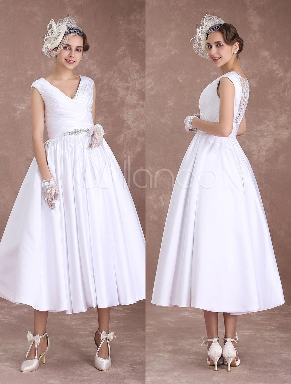 White Wedding Dresses Short Vintage Bridal Dress Satin V Neck 1950's Beaded Sash Pleated Lace Illusion Tea Length Wedding Reception Dress Milanoo photo