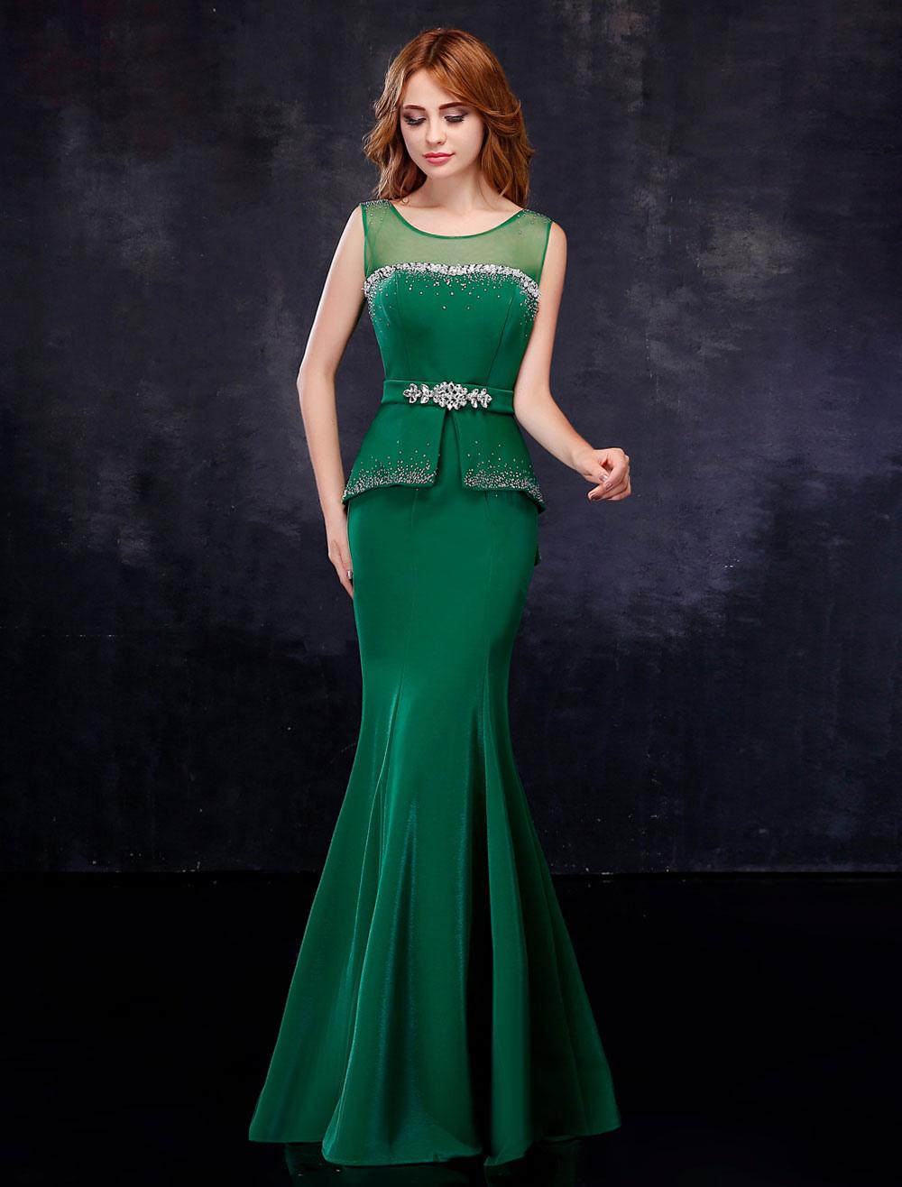 Evening Dresses Peplum Satin Rhinestone Hunter Green Evening Gown Backless Mermaid Formal Dress With Sash (Wedding) photo