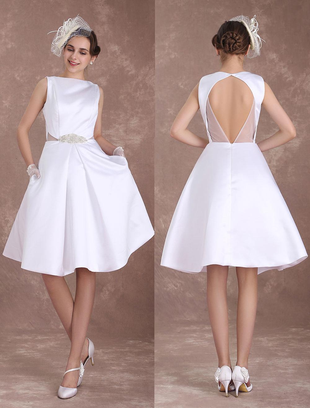 White Wedding Dresses Short Bridal Dress Vintage 1950's Satin Backless Bateau Beaded Knee Length Wedding Reception Dress Milanoo photo