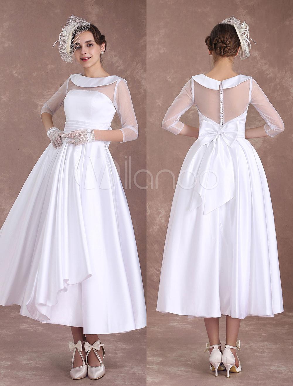 White Wedding Dresses Short 1950's Vintage Bridal Dress Satin Long Sleeve Pleated Illusion Tea Length Wedding Reception Dress Milanoo photo